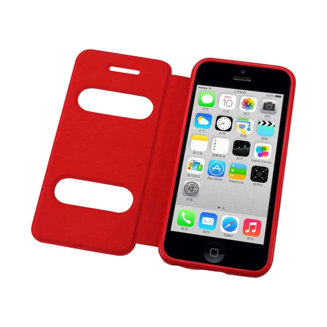 IPHONE 5C WINDOW FLIP FOLIO CASE IN RED