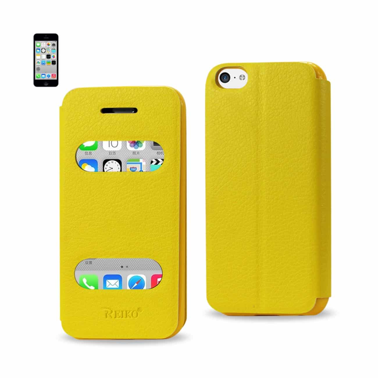 IPHONE 5C WINDOW FLIP FOLIO CASE IN YELLOW