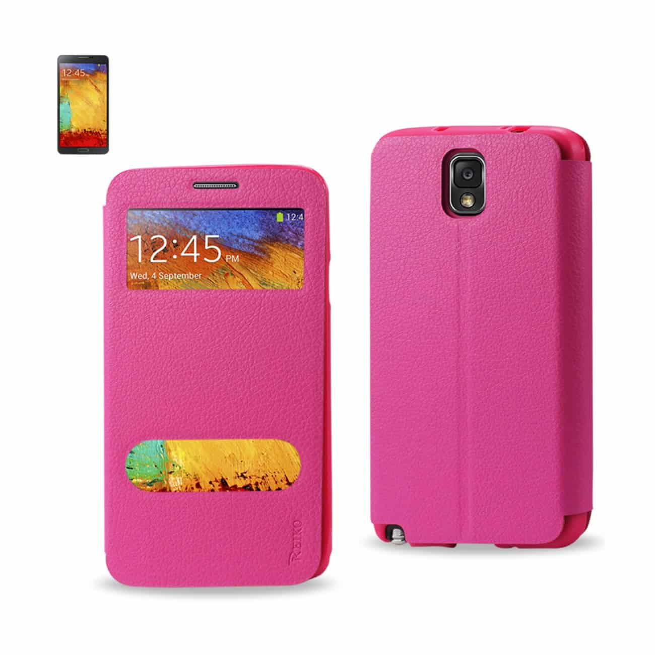 SAMSUNG GALAXY NOTE 3 WINDOW FLIP FOLIO CASE IN HOT PINK
