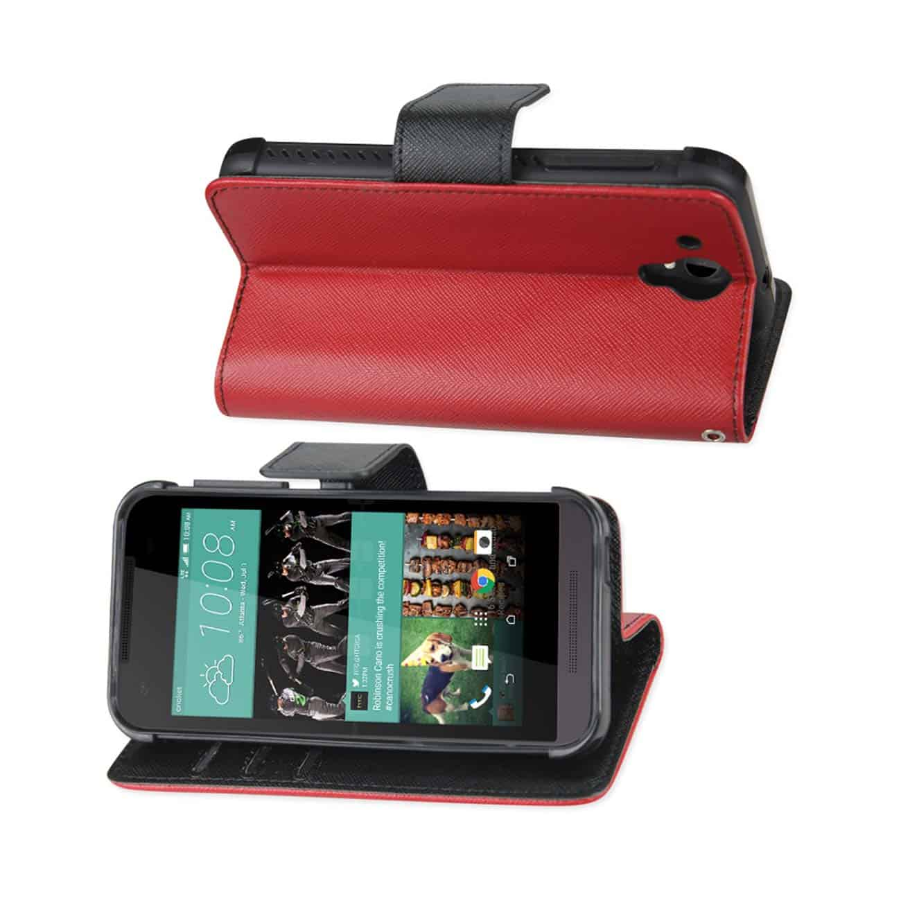 HTC DESIRE 520 3-IN-1 WALLET CASE IN RED