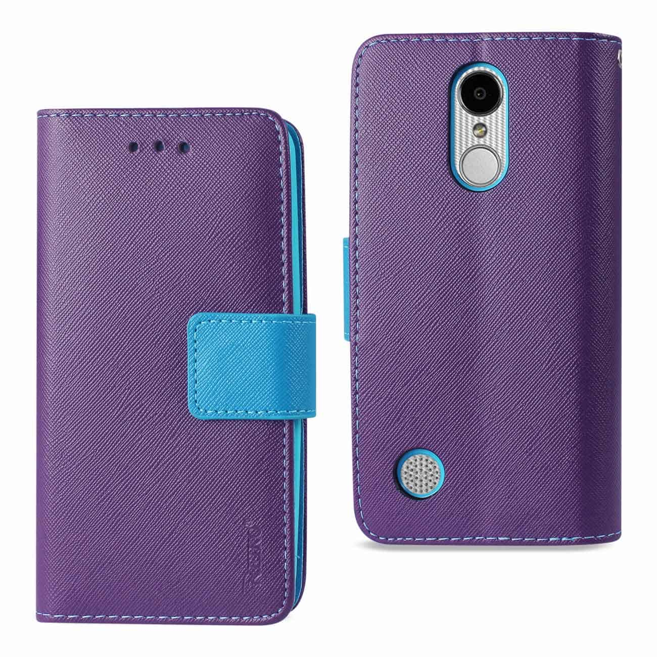 LG ARISTO/ FORTUNE/ PHOENIX 3 PLUS 3-IN-1 WALLET CASE IN PURPLE