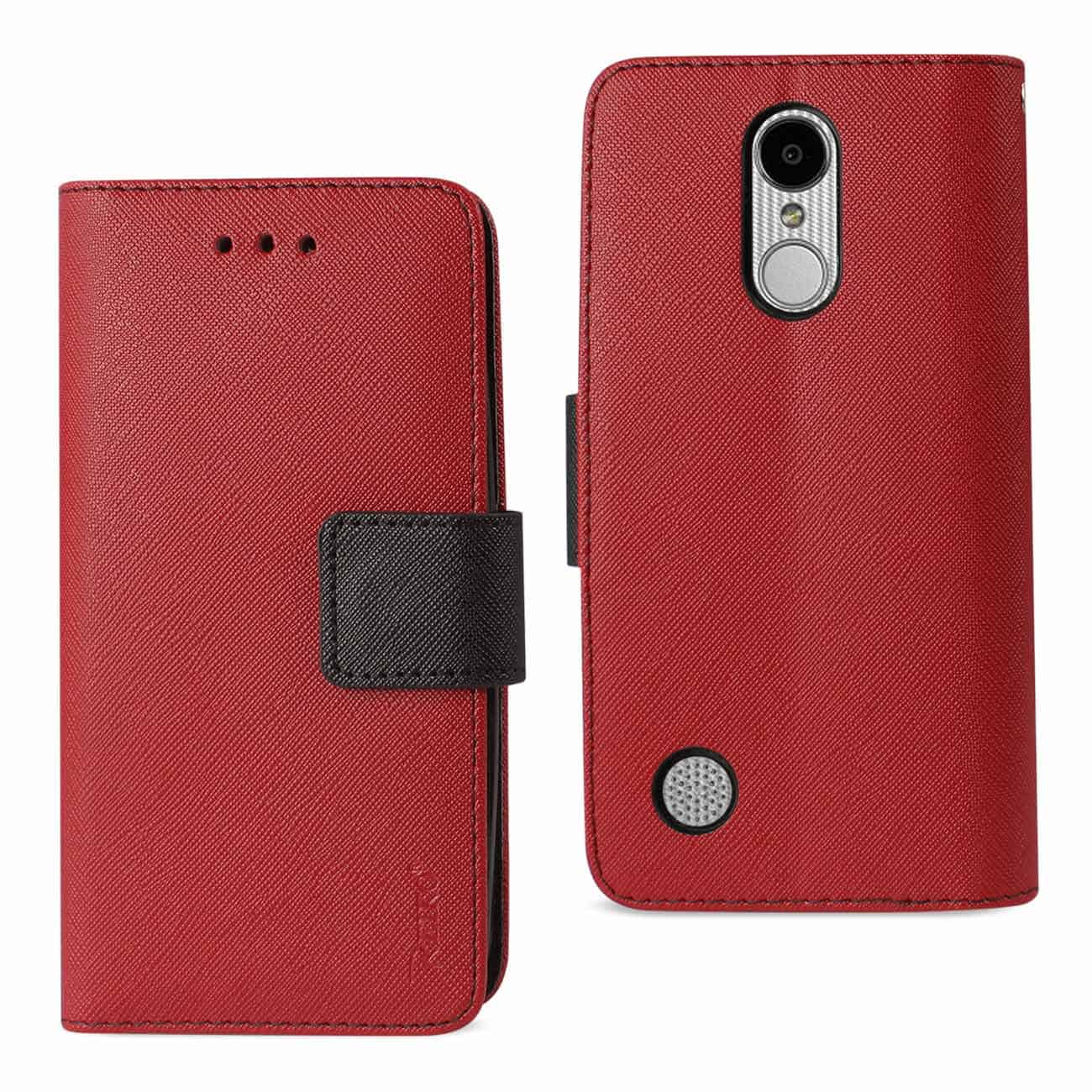 LG ARISTO/ FORTUNE/ PHOENIX 3 PLUS 3-IN-1 WALLET CASE IN RED