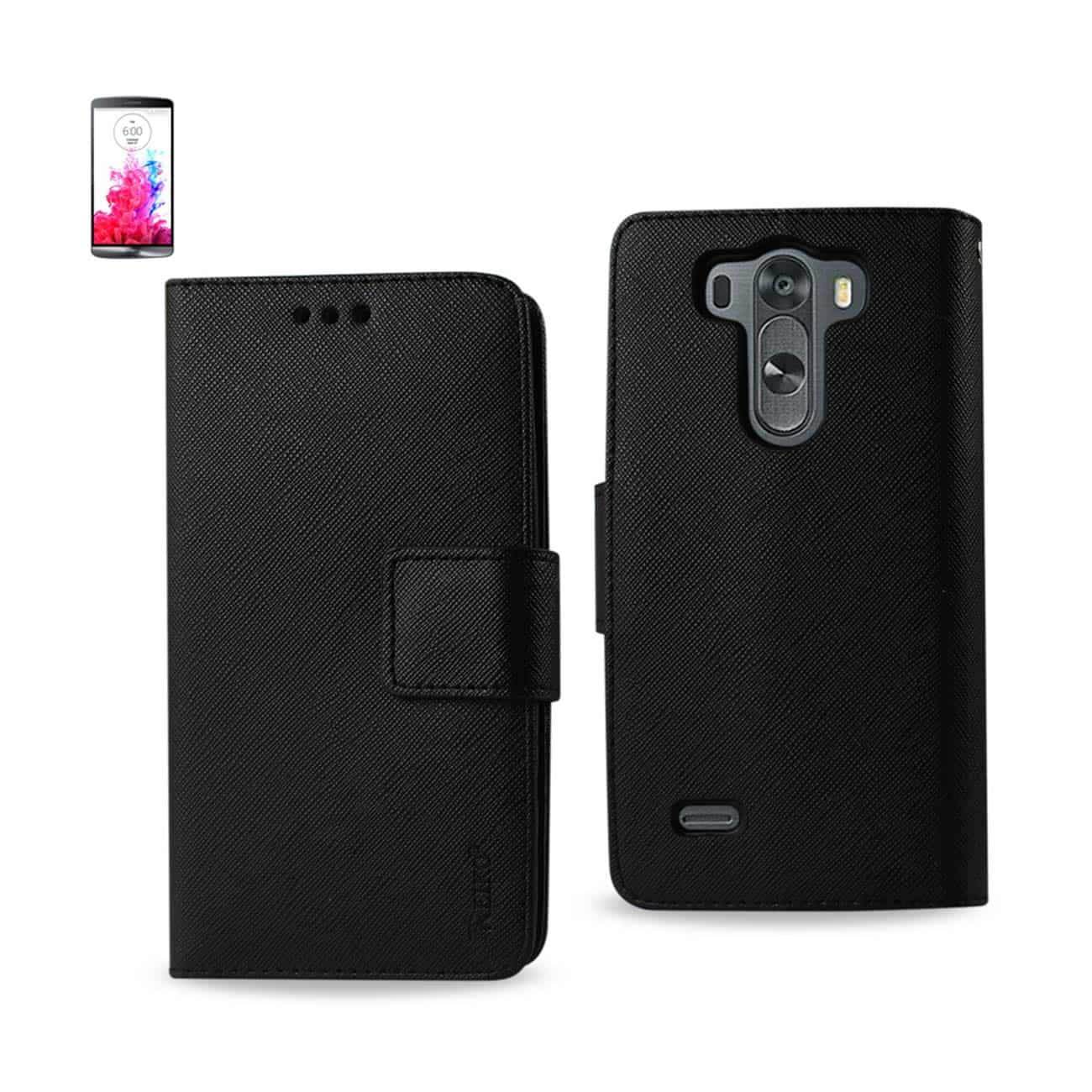 LG G3 MINI 3-IN-1 WALLET CASE IN BLACK