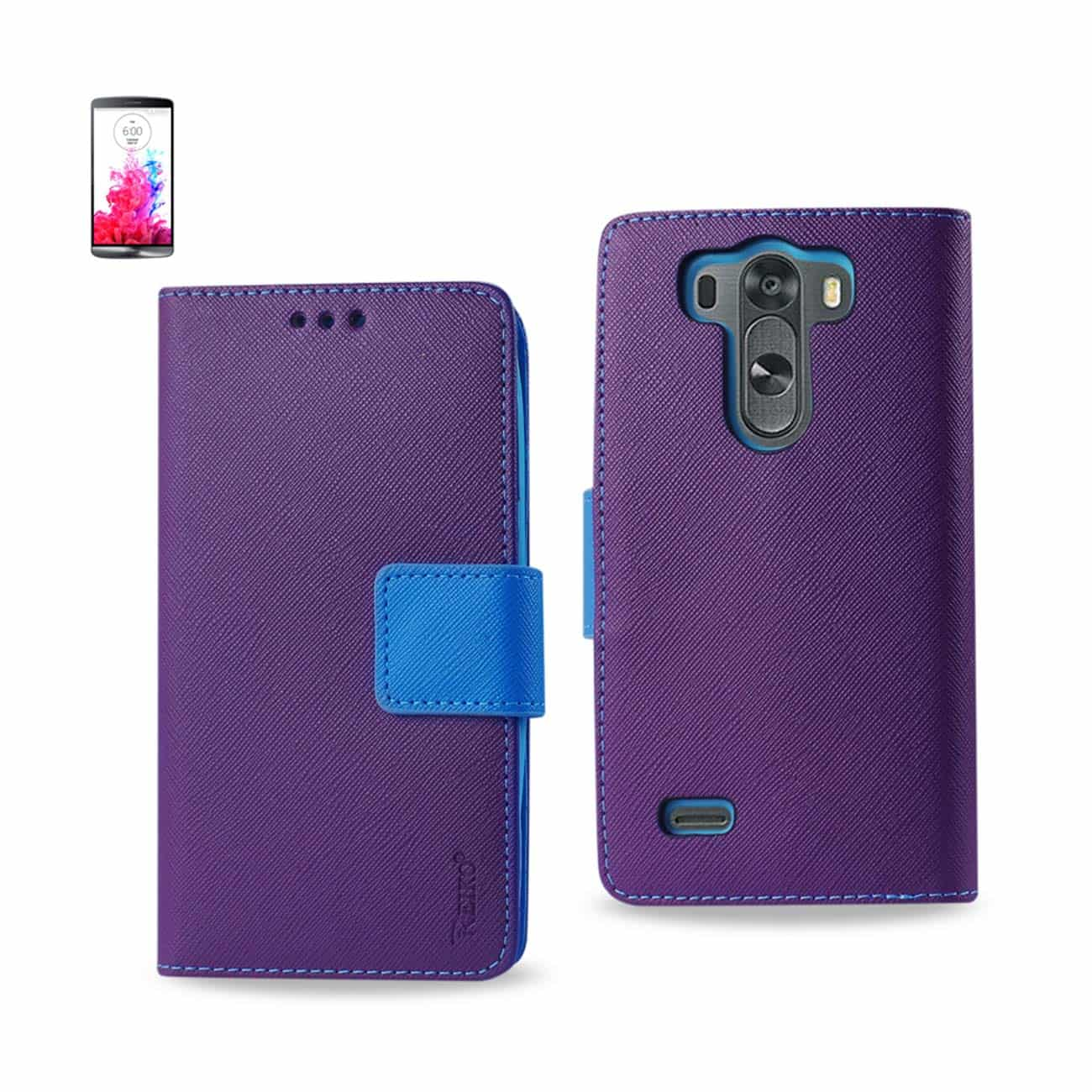 LG G3 MINI 3-IN-1 WALLET CASE IN PURPLE