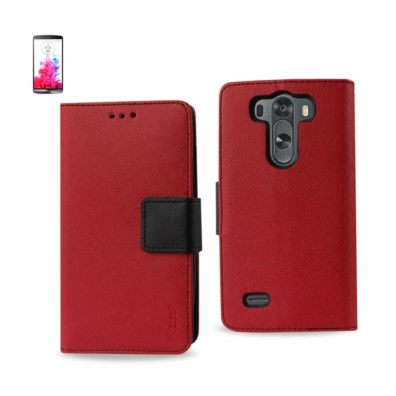 LG G3 MINI 3-IN-1 WALLET CASE IN RED