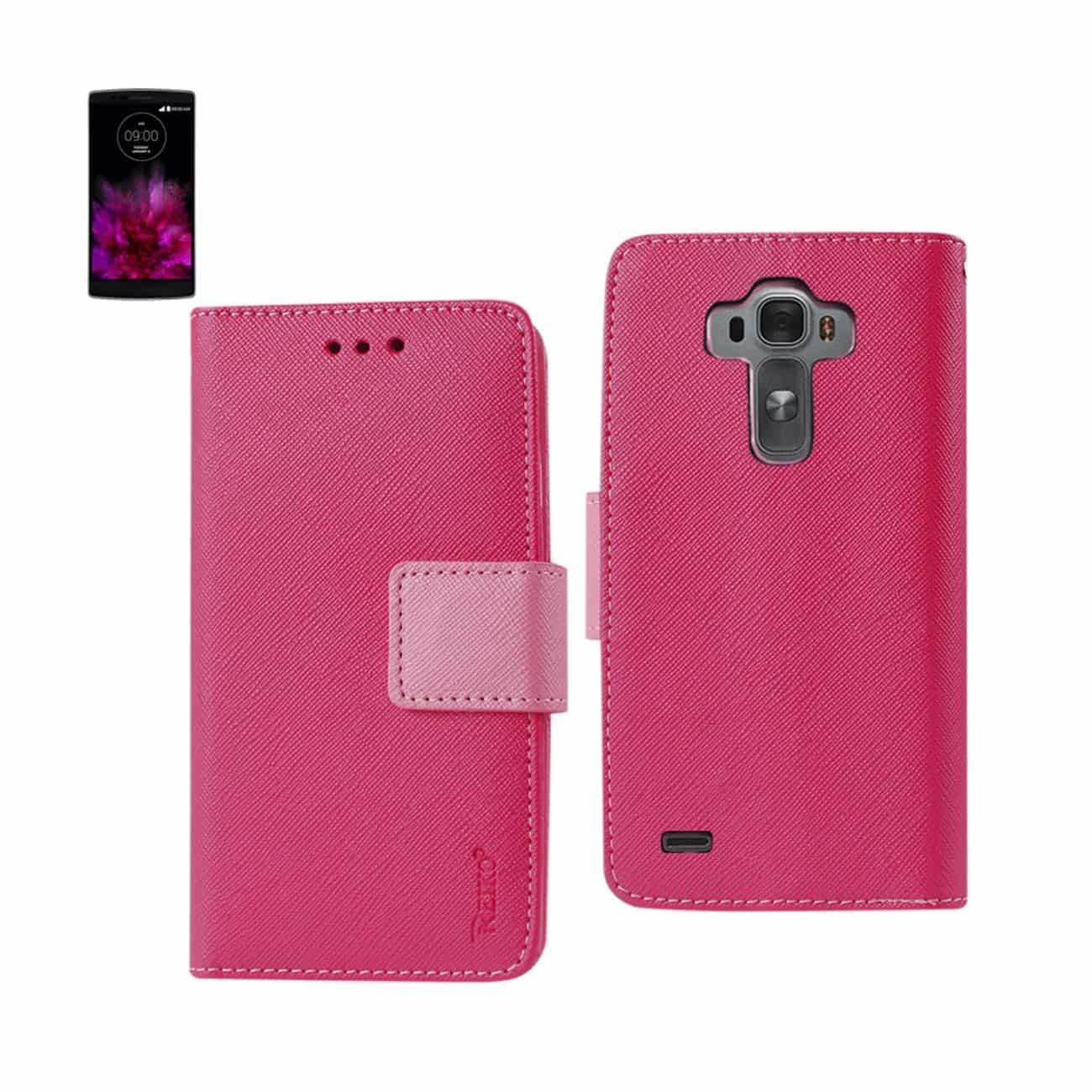 LG G FLEX 2 3-IN-1 WALLET CASE IN HOT PINK