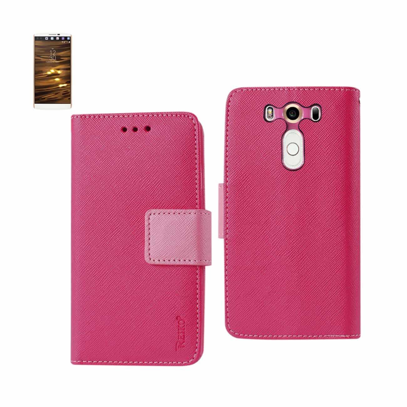 LG V10 3-IN-1 WALLET CASE IN HOT PINK
