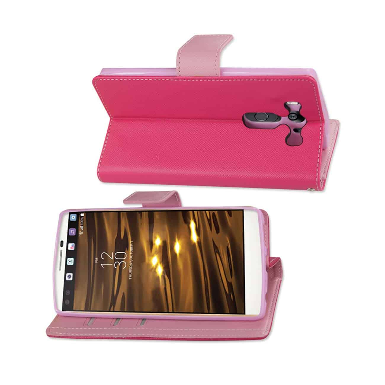 LG V10 3-IN-1 WALLET CASE IN HOT PINK