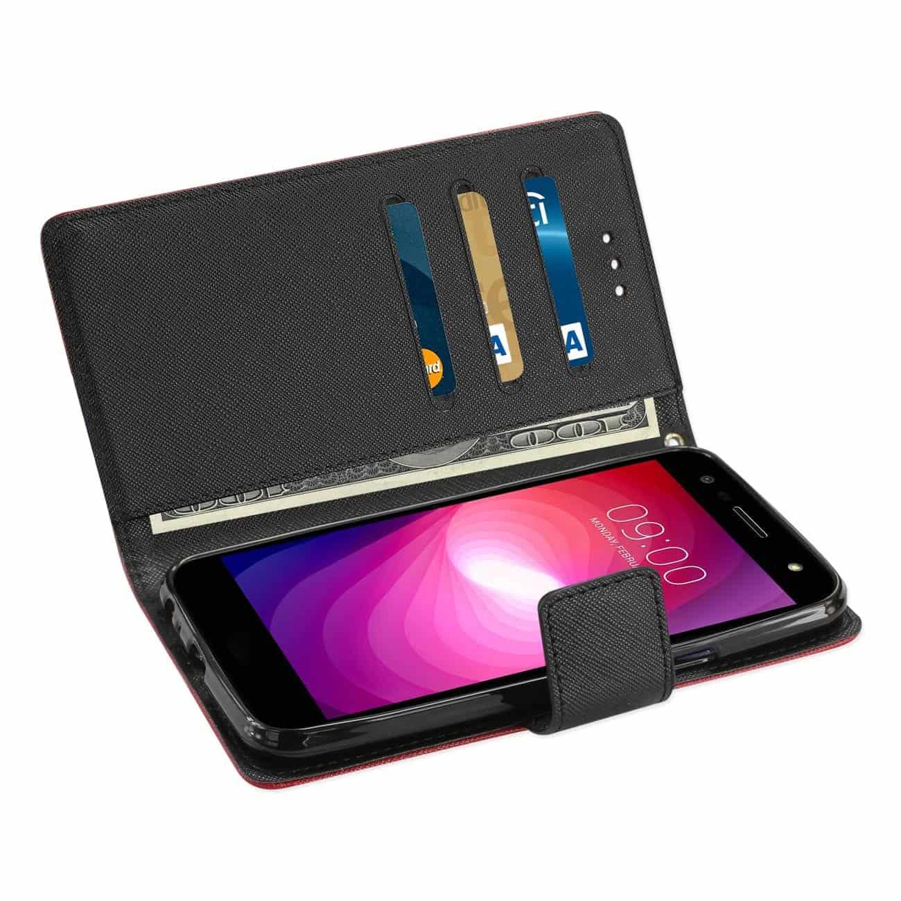 LG X POWER 2 3-IN-1 WALLET CASE IN RED