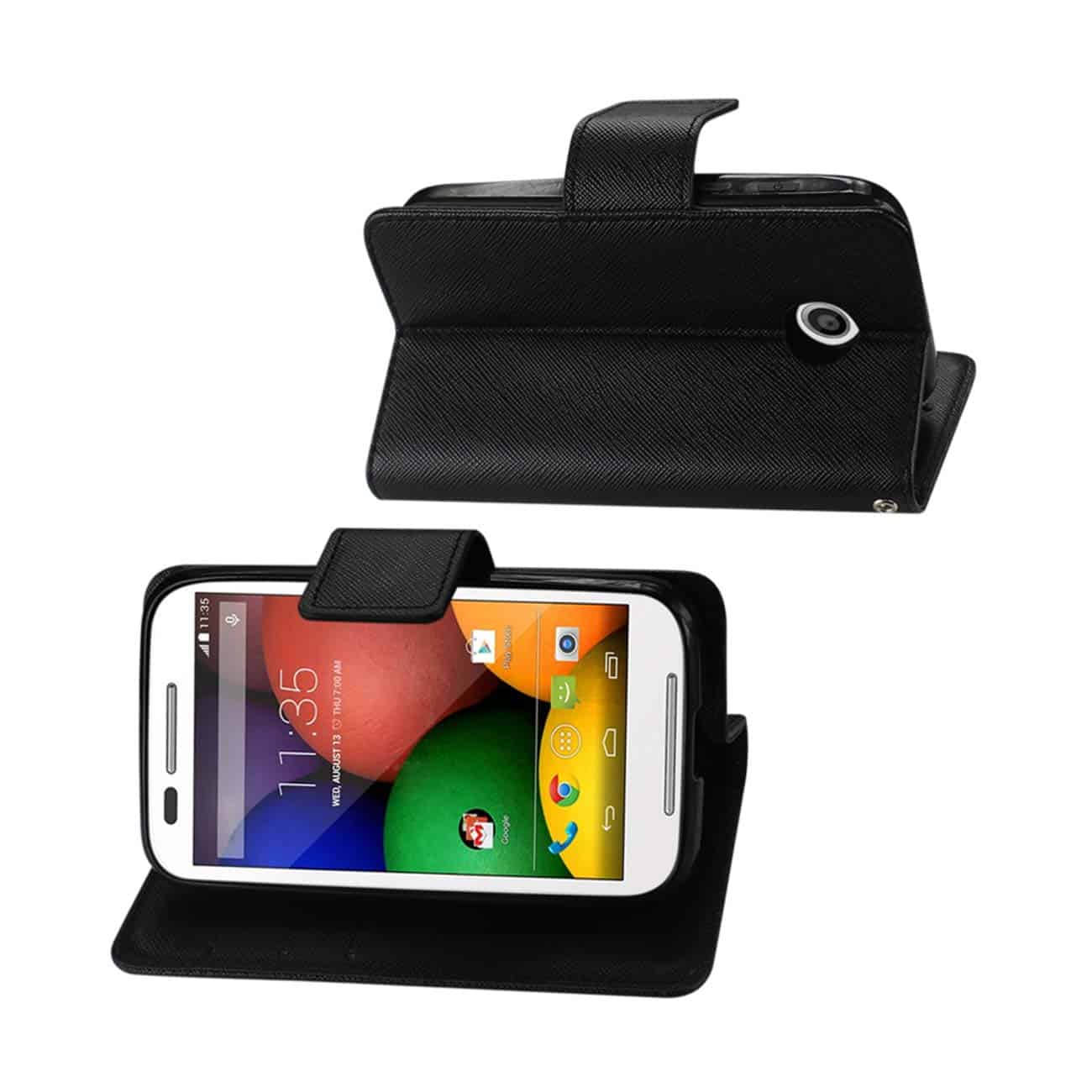 MOTOROLA MOTO E 3-IN-1 WALLET CASE IN BLACK