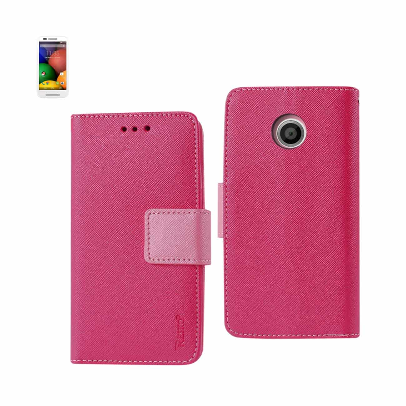 MOTOROLA MOTO E 3-IN-1 WALLET CASE IN HOT PINK