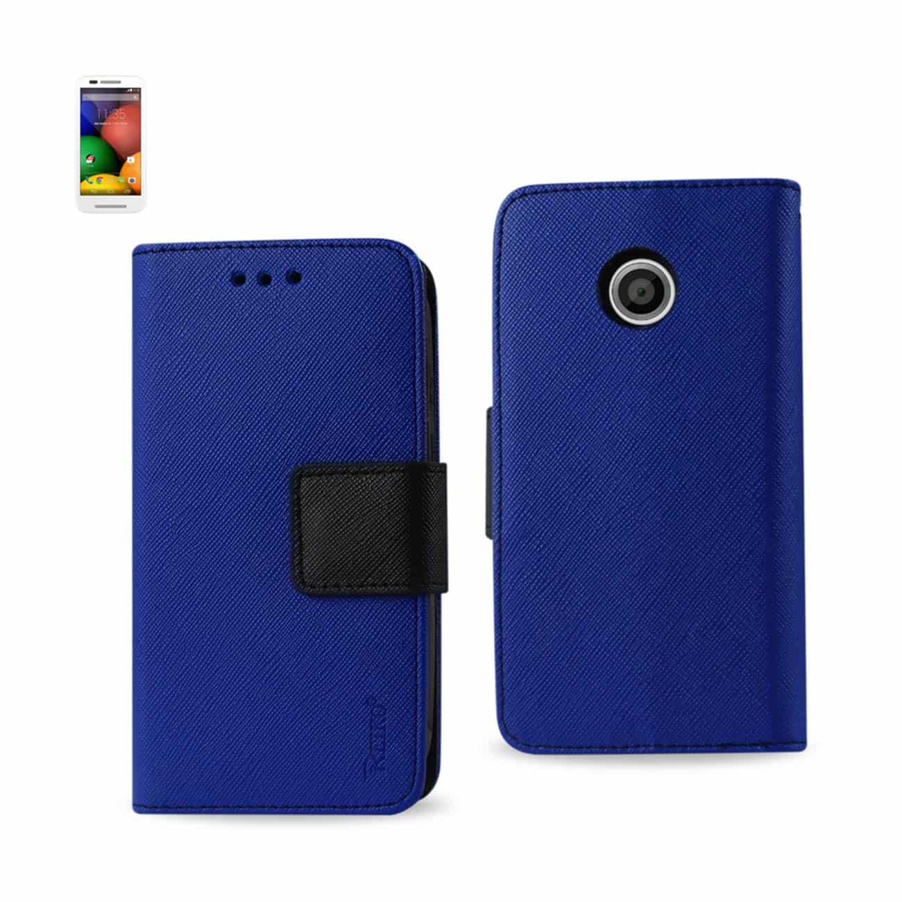 MOTOROLA MOTO E 3-IN-1 WALLET CASE IN NAVY