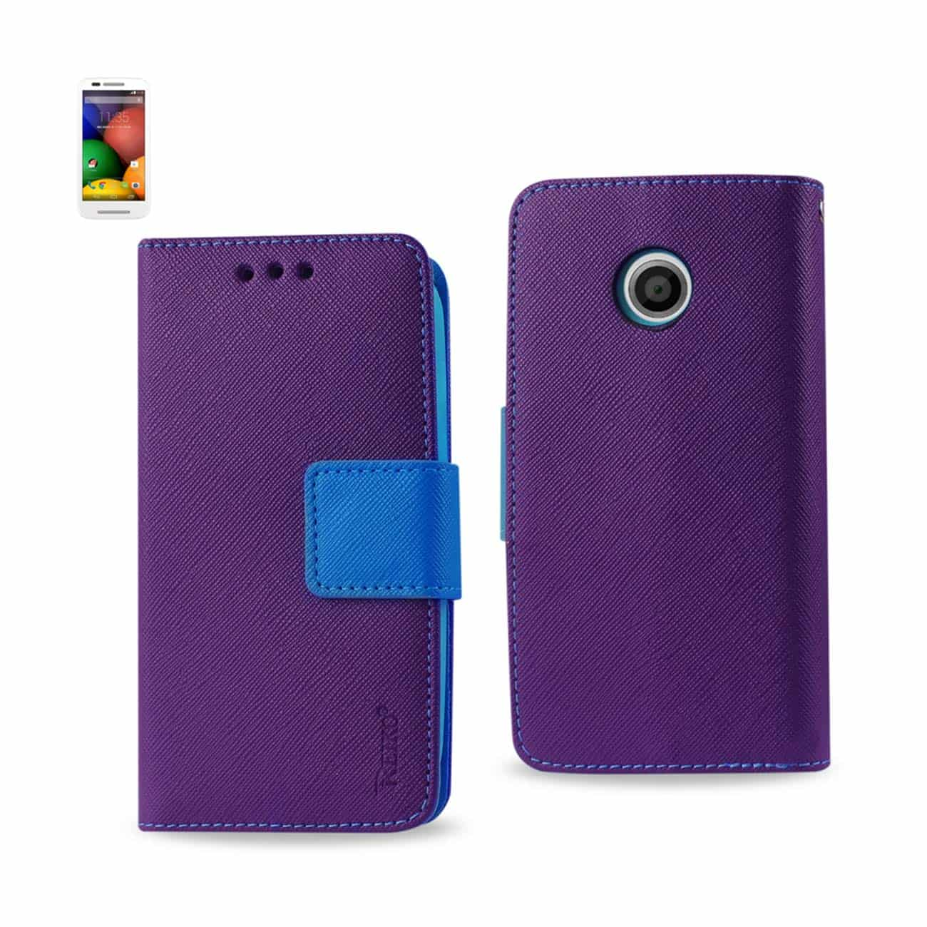 MOTOROLA MOTO E 3-IN-1 WALLET CASE IN PURPLE