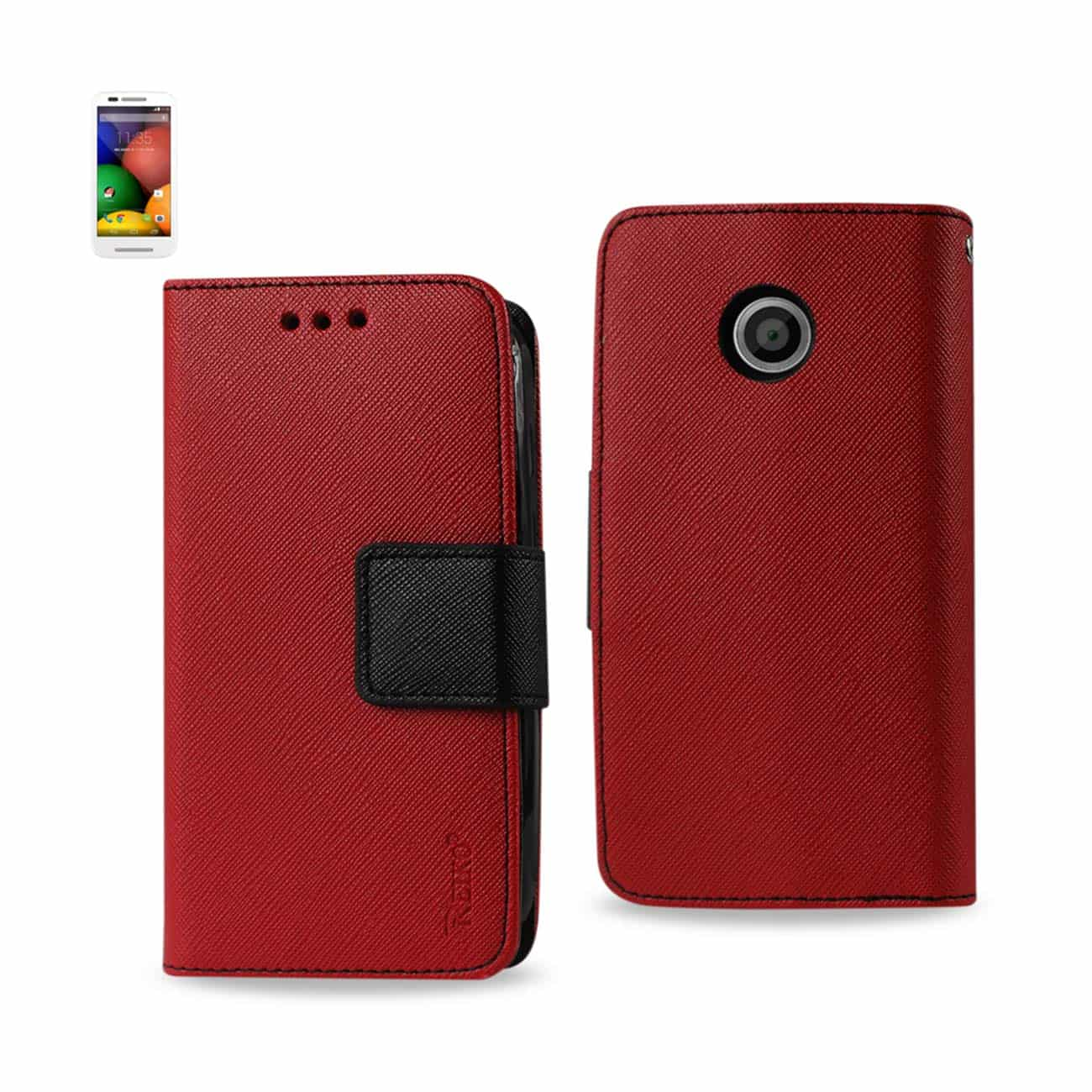 MOTOROLA MOTO E 3-IN-1 WALLET CASE IN RED