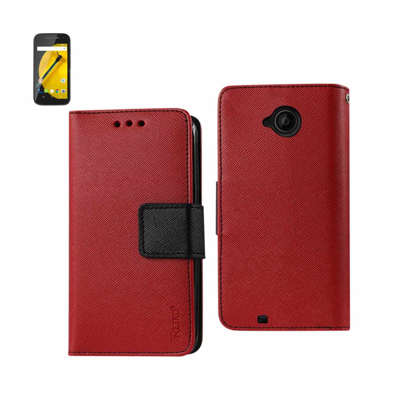 MOTOROLA MOTO E (2015) 3-IN-1 WALLET CASE IN RED