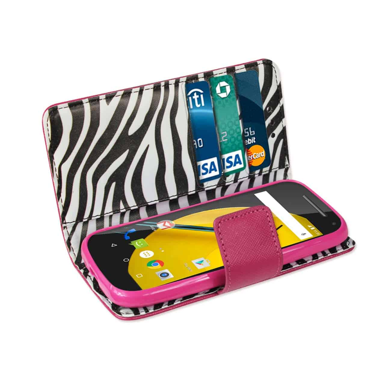 MOTOROLA MOTO E (2015) 3-IN-1 INTERIOR ZEBRA PATTERN WALLET CASE IN HOT PINK