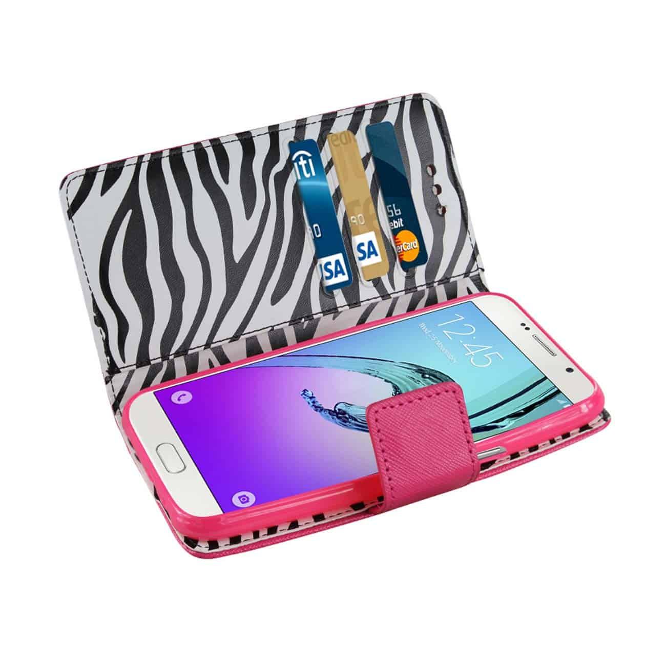 SAMSUNG GALAXY A7 (2016) 3-IN-1 WALLET CASE WITH INNER ZEBRA PRINT IN HOT PINK