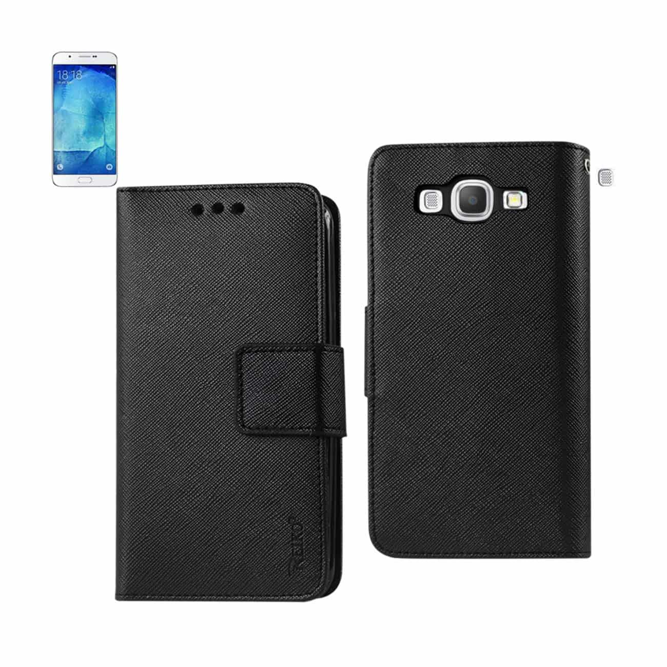 SAMSUNG GALAXY A8 3-IN-1 WALLET CASE IN BLACK