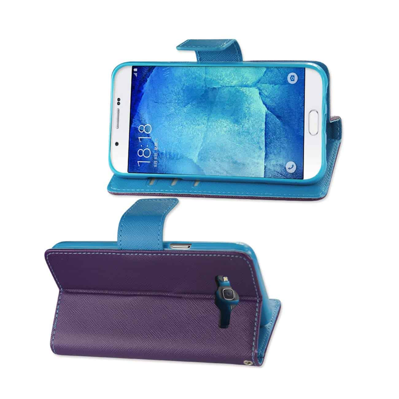 SAMSUNG GALAXY A8 3-IN-1 WALLET CASE IN PURPLE
