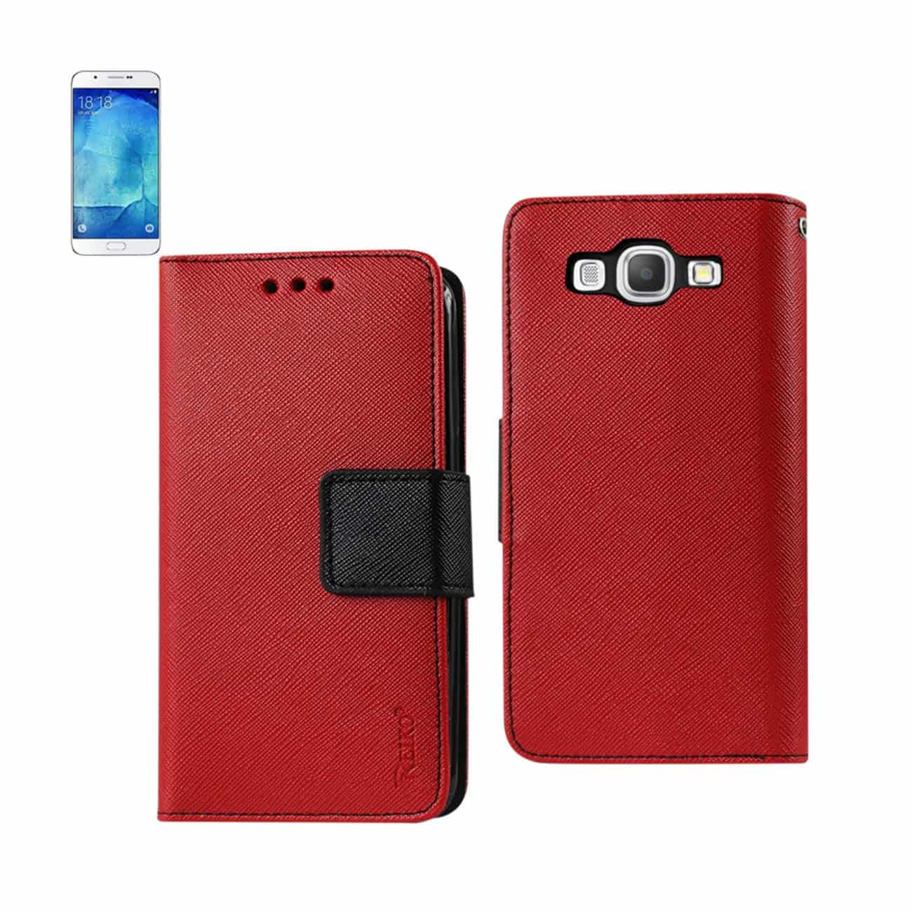 SAMSUNG GALAXY A8 3-IN-1 WALLET CASE IN RED
