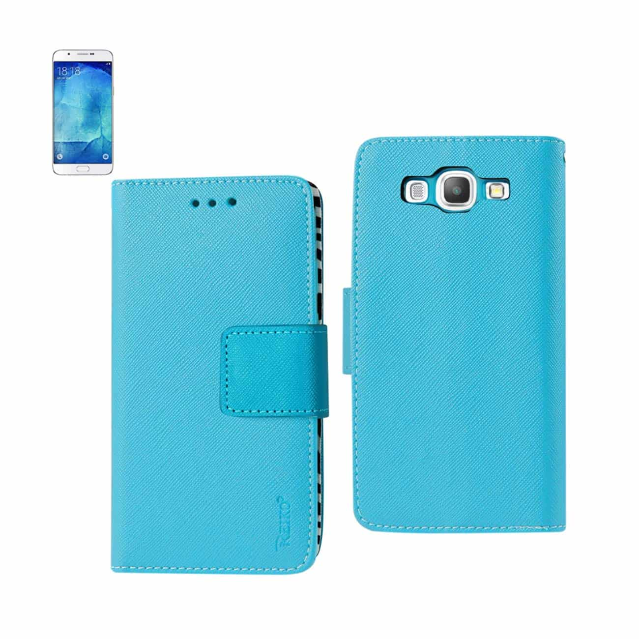SAMSUNG GALAXY A8 3-IN-1 WALLET CASE WITH INNER ZEBRA PRINT IN BLUE