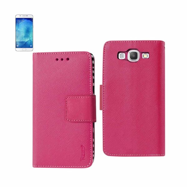 SAMSUNG GALAXY A8 3-IN-1 WALLET CASE WITH INNER ZEBRA PRINT IN HOT PINK