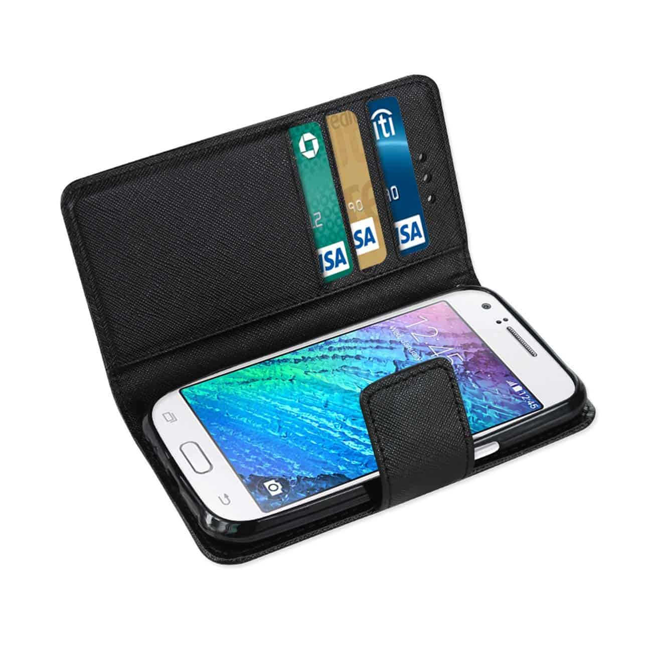 SAMSUNG GALAXY J1 3-IN-1 WALLET CASE IN BLACK