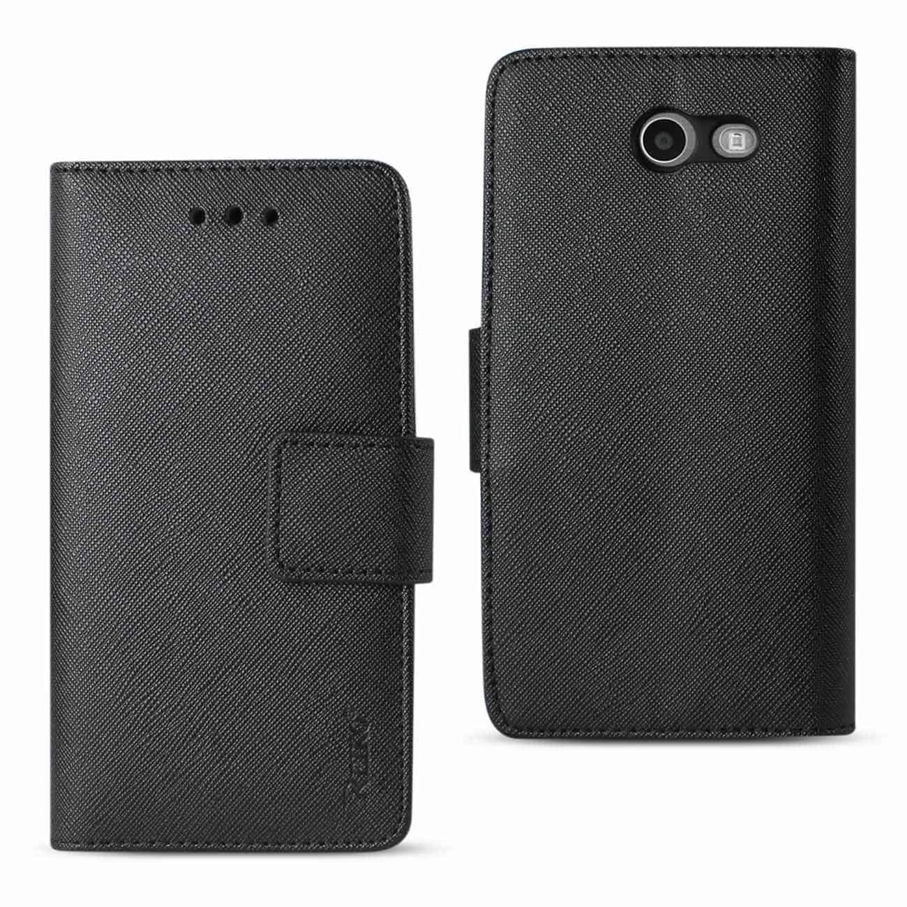 2017 SAMSUNG GALAXY J3 EMERGE 3-IN-1 WALLET CASE IN BLACK