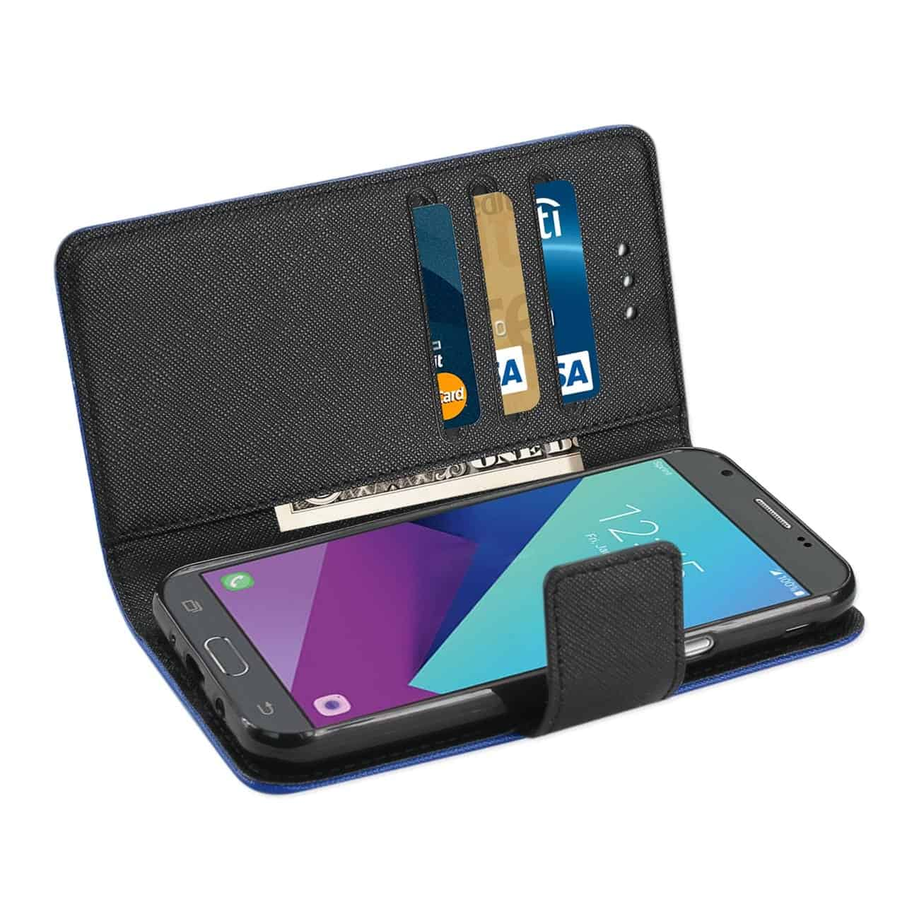 2017 SAMSUNG GALAXY J3 EMERGE 3-IN-1 WALLET CASE IN NAVY