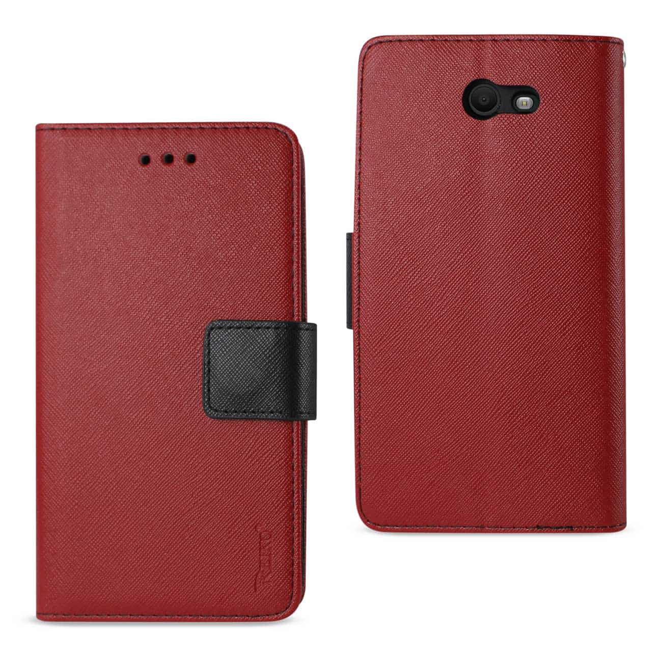 SAMSUNG GALAXY J7 V (2017) 3-IN-1 WALLET CASE IN RED