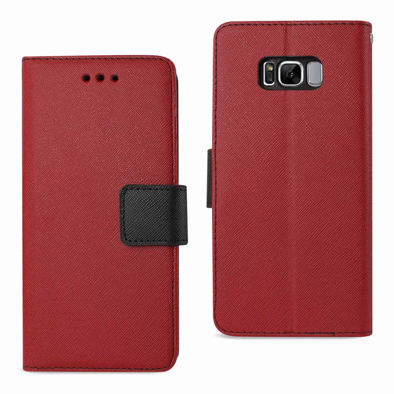 SAMSUNG GALAXY S8 3-IN-1 WALLET CASE IN RED