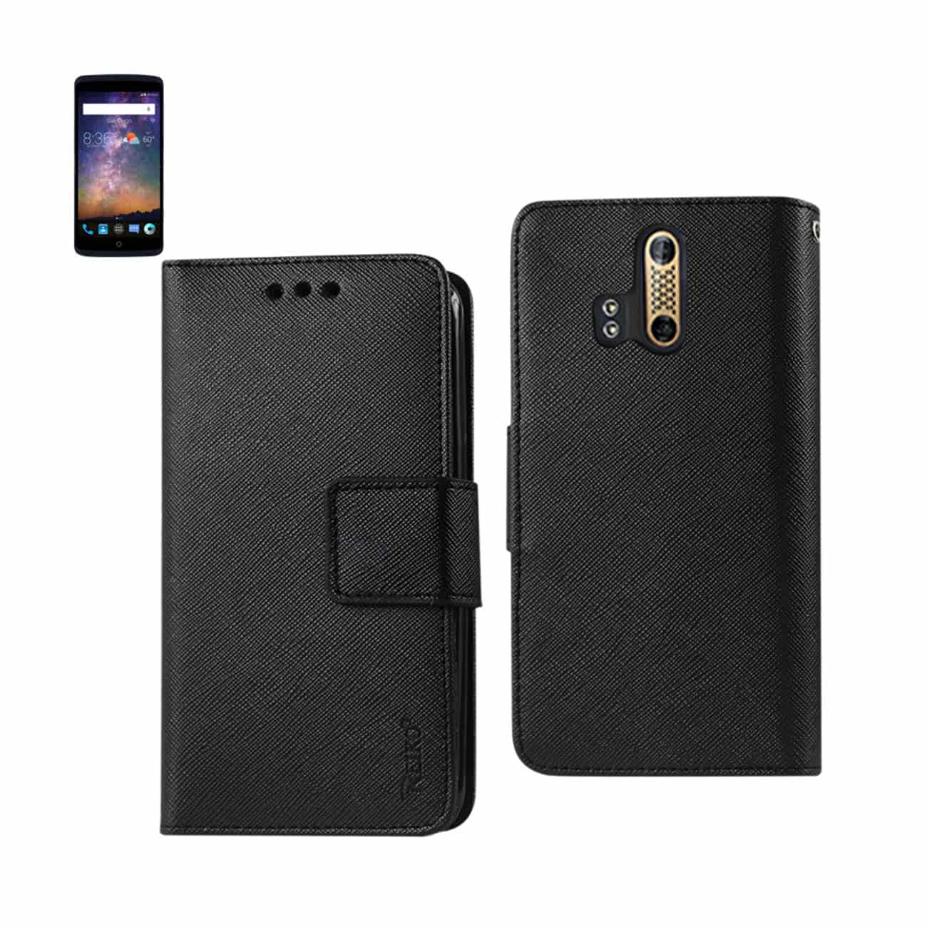ZTE AXON PRO 3-IN-1 WALLET CASE IN BLACK