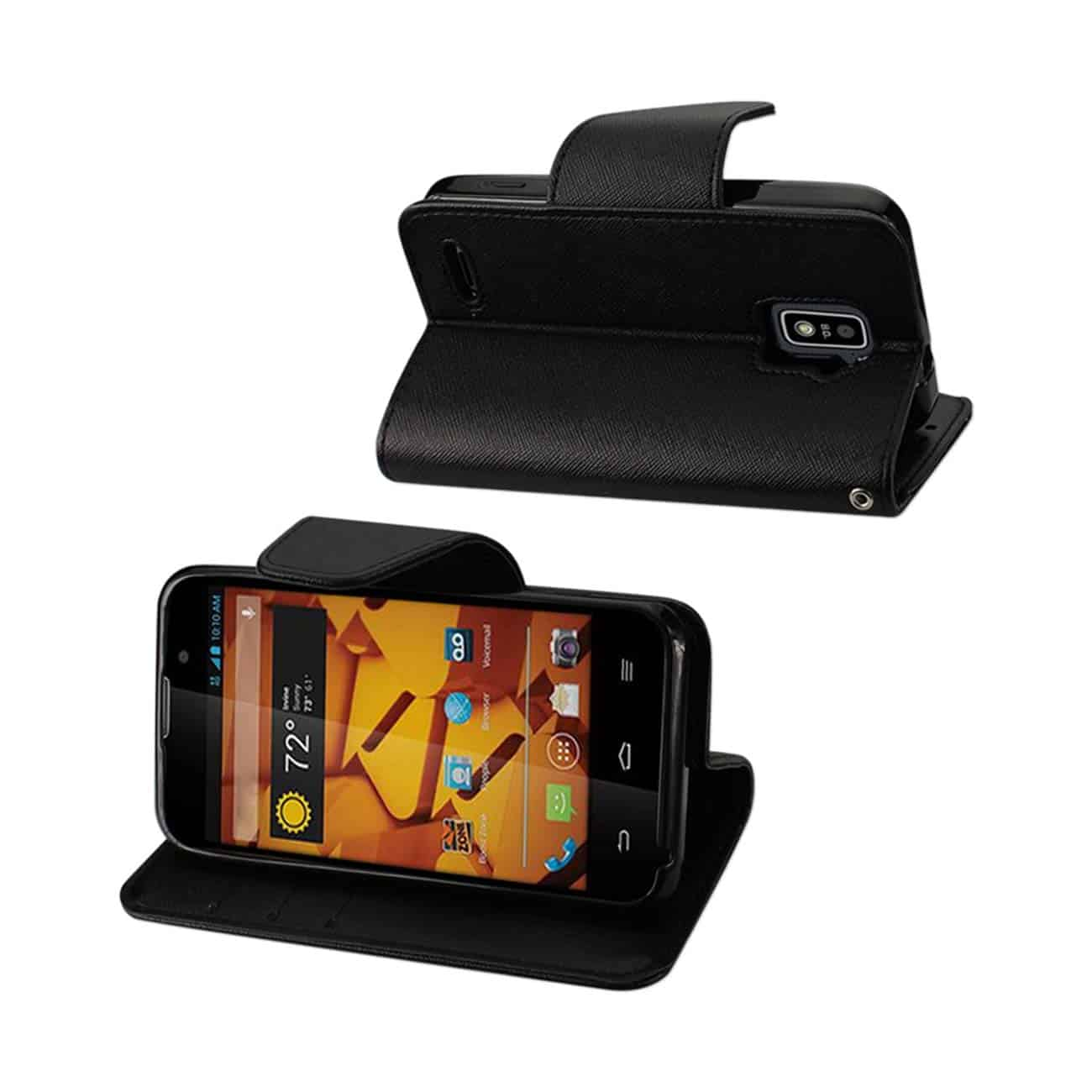 ZTE WARP 4G 3-IN-1 WALLET CASE IN BLACK