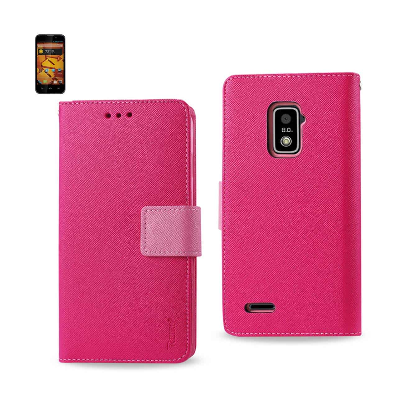 ZTE WARP 4G 3-IN-1 WALLET CASE IN HOT PINK