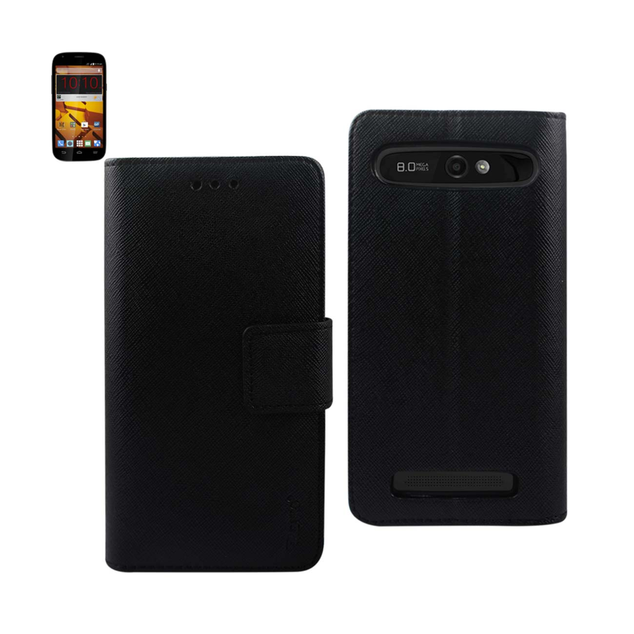 ZTE WARP SYNC 3-IN-1 WALLET CASE IN BLACK