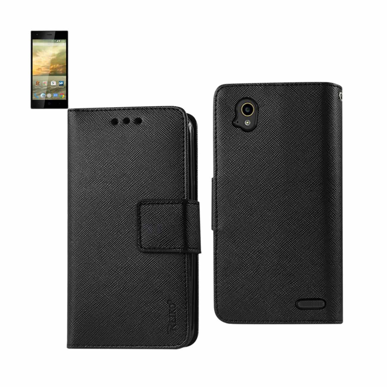 ZTE WARP ELITE 3-IN-1 WALLET CASE IN BLACK