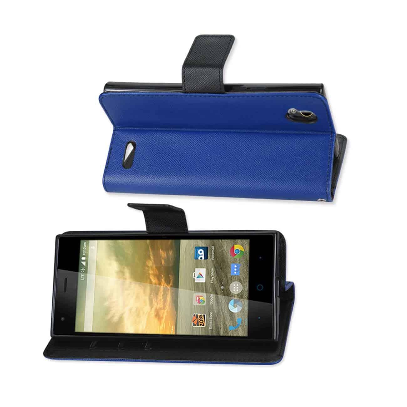 ZTE WARP ELITE 3-IN-1 WALLET CASE IN NAVY