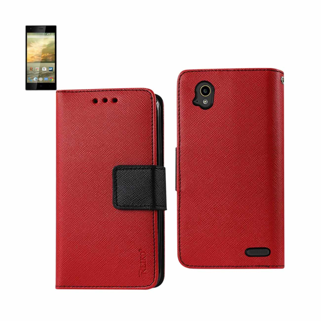 ZTE WARP ELITE 3-IN-1 WALLET CASE IN RED