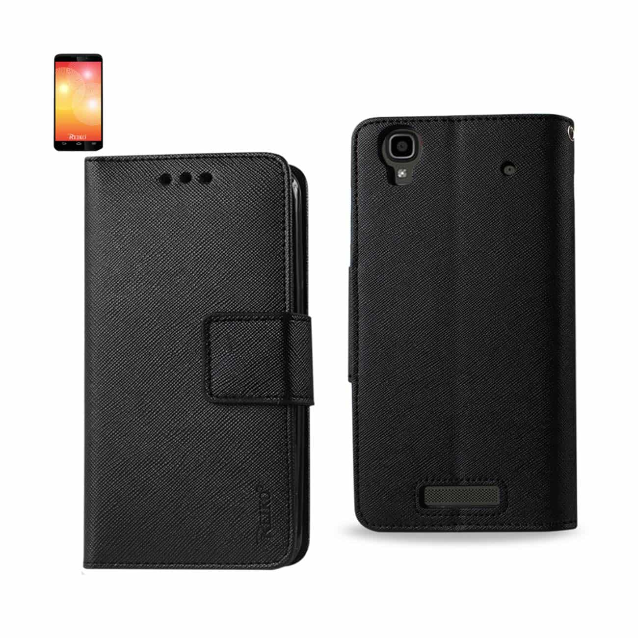 ZTE MAX 3-IN-1 WALLET CASE IN BLACK