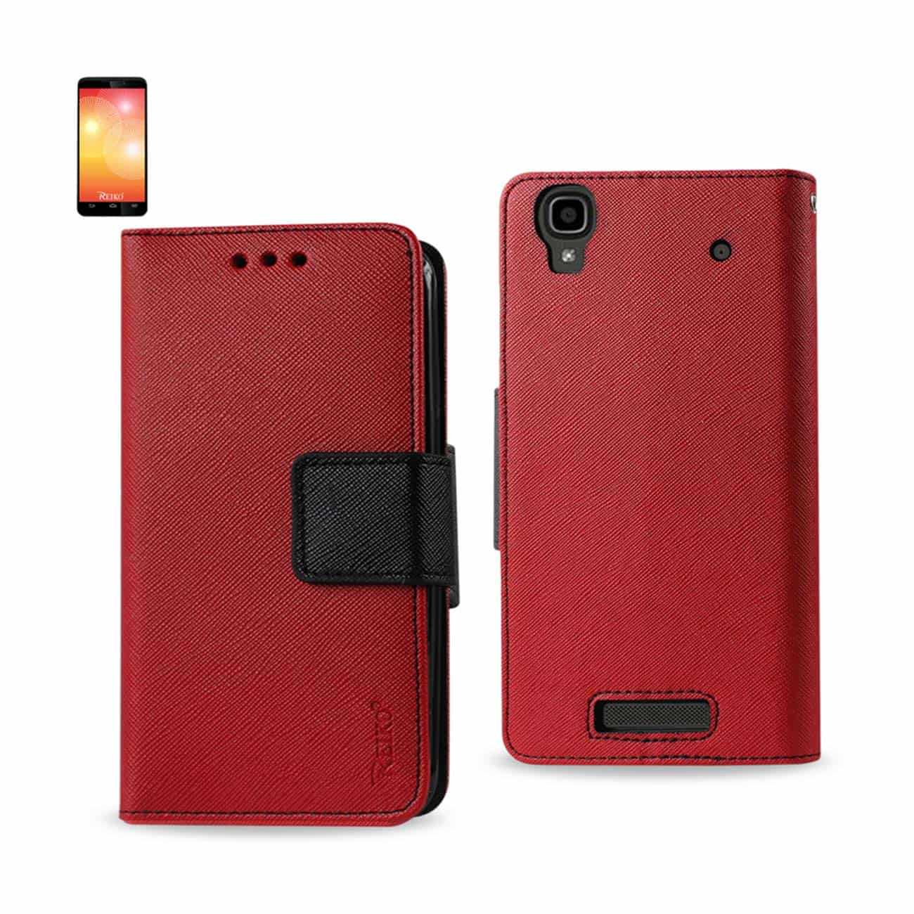 ZTE MAX 3-IN-1 WALLET CASE IN RED