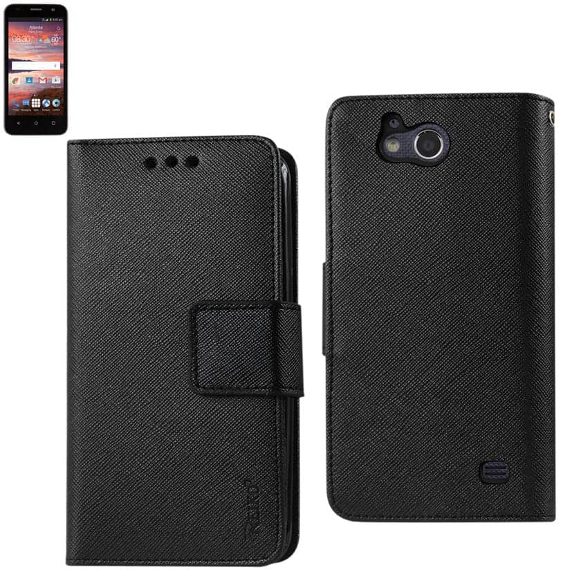 ZTE OVERTURE 2 3-IN-1 WALLET CASE IN BLACK