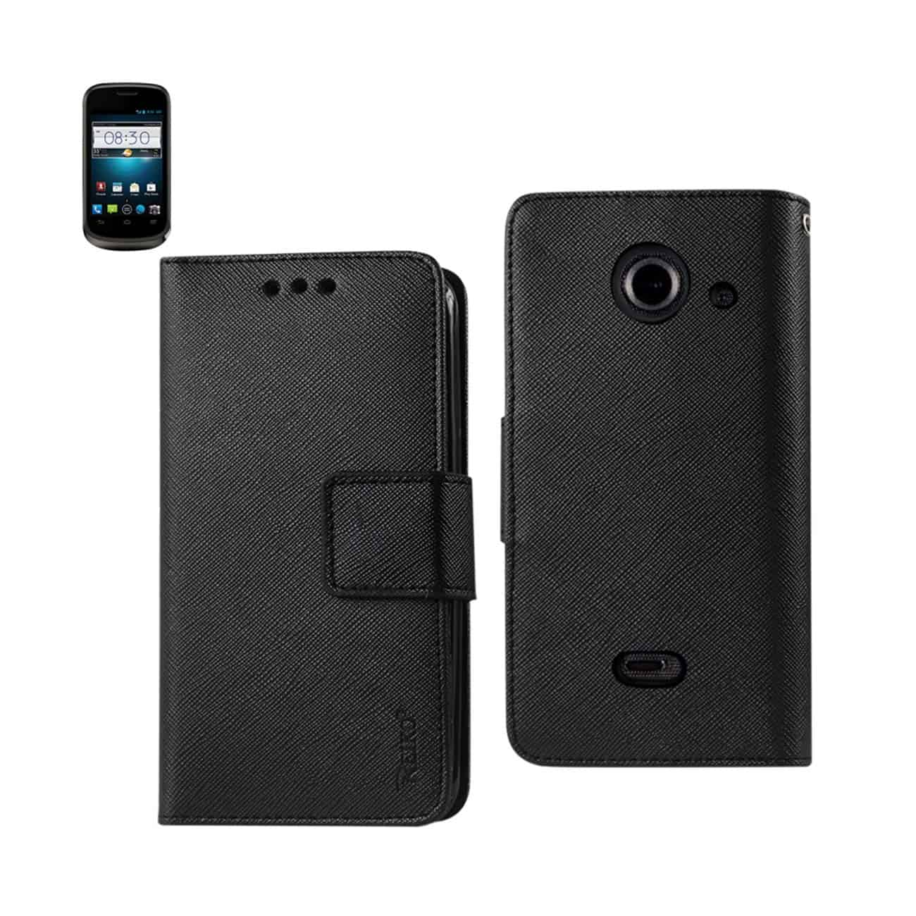 ZTE PRELUDE 2 3-IN-1 WALLET CASE IN BLACK