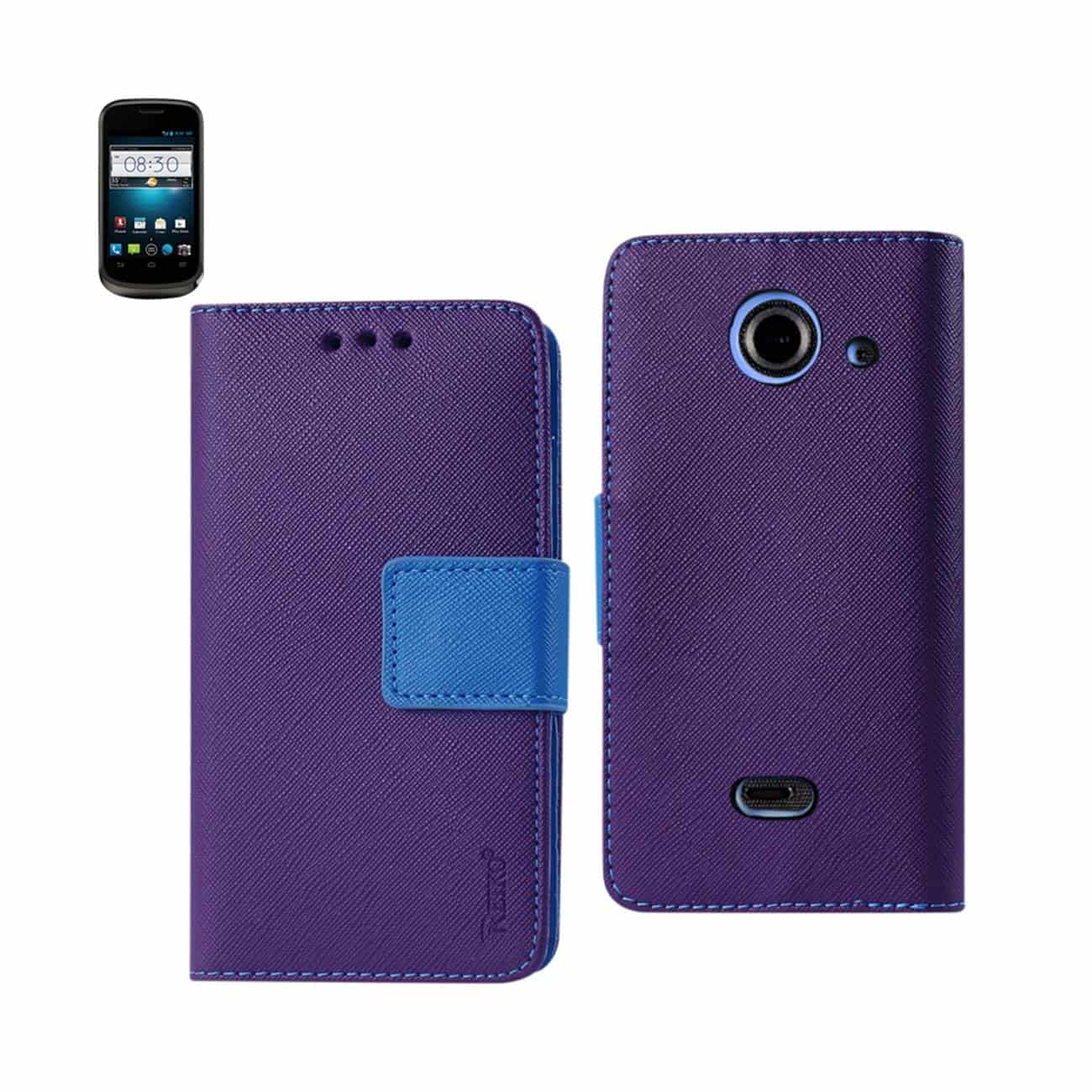 ZTE PRELUDE 2 3-IN-1 WALLET CASE IN PURPLE