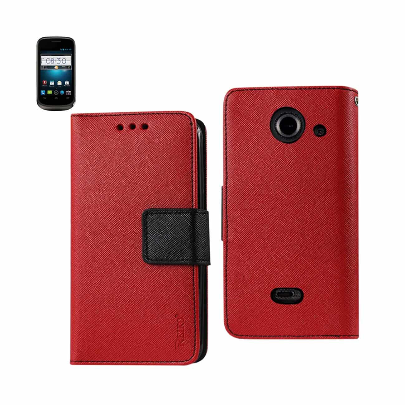 ZTE PRELUDE 2 3-IN-1 WALLET CASE IN RED