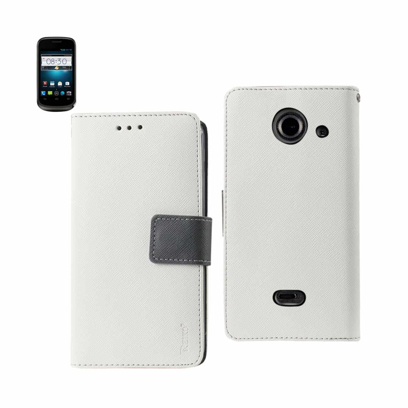 ZTE PRELUDE 2 3-IN-1 WALLET CASE IN WHITE
