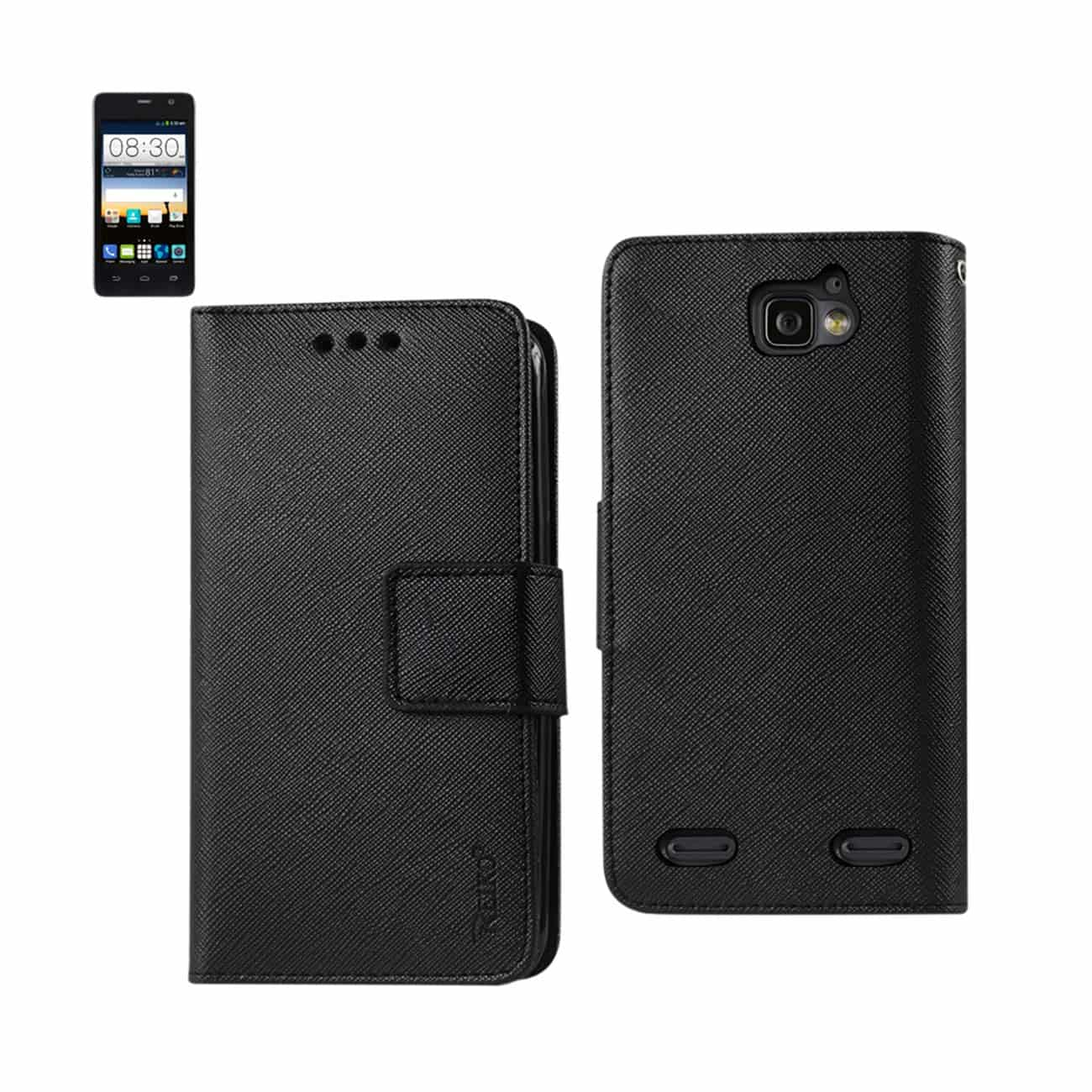 ZTE SONATA 2 3-IN-1 WALLET CASE IN BLACK