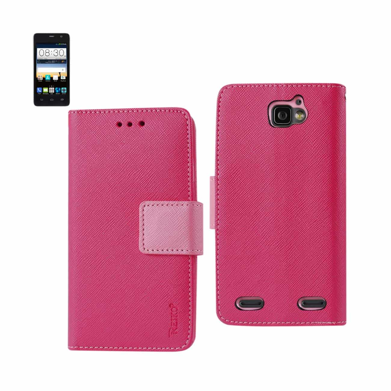 ZTE SONATA 2 3-IN-1 WALLET CASE IN HOT PINK
