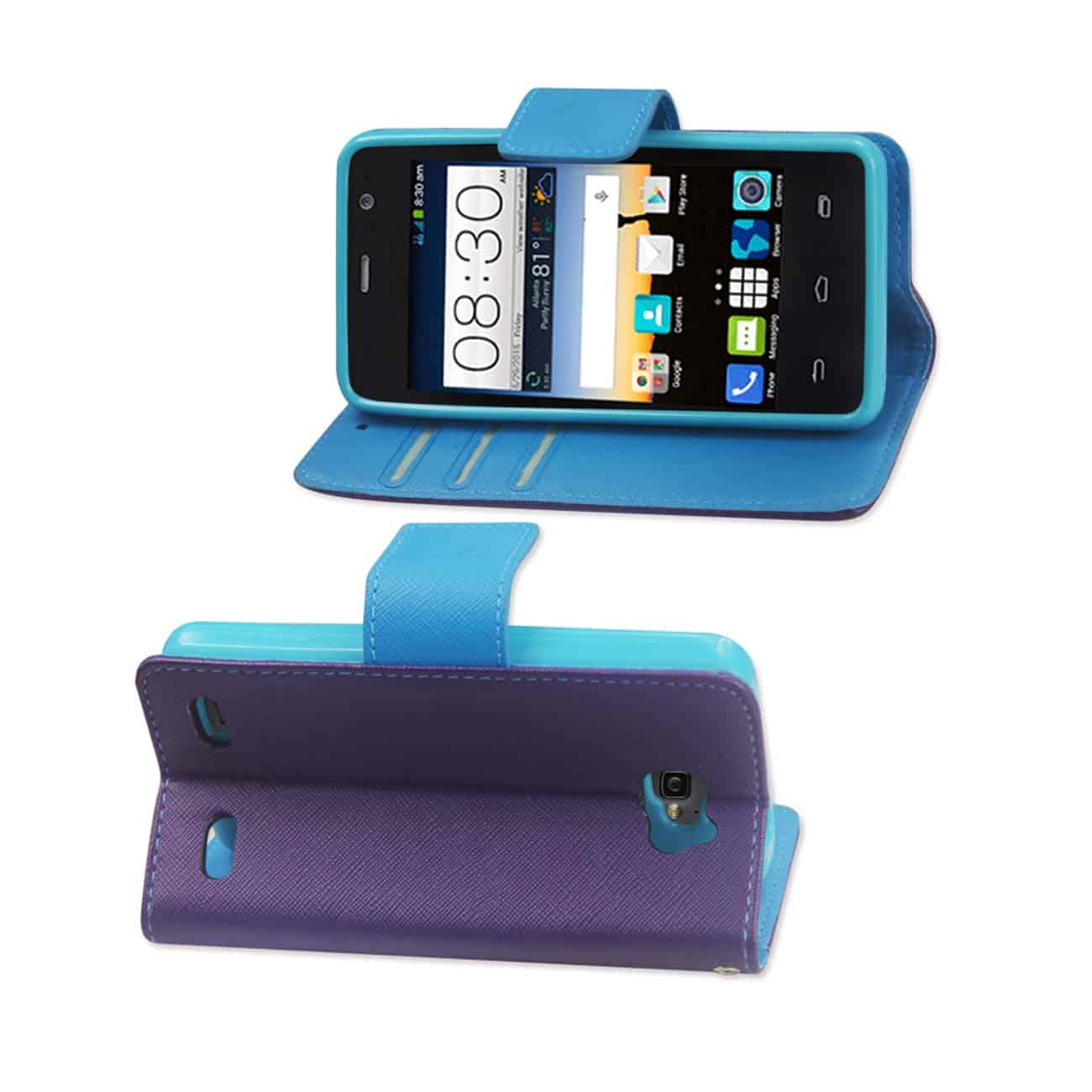 ZTE SONATA 2 3-IN-1 WALLET CASE IN PURPLE