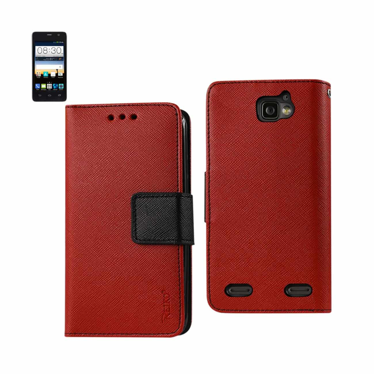 ZTE SONATA 2 3-IN-1 WALLET CASE IN RED