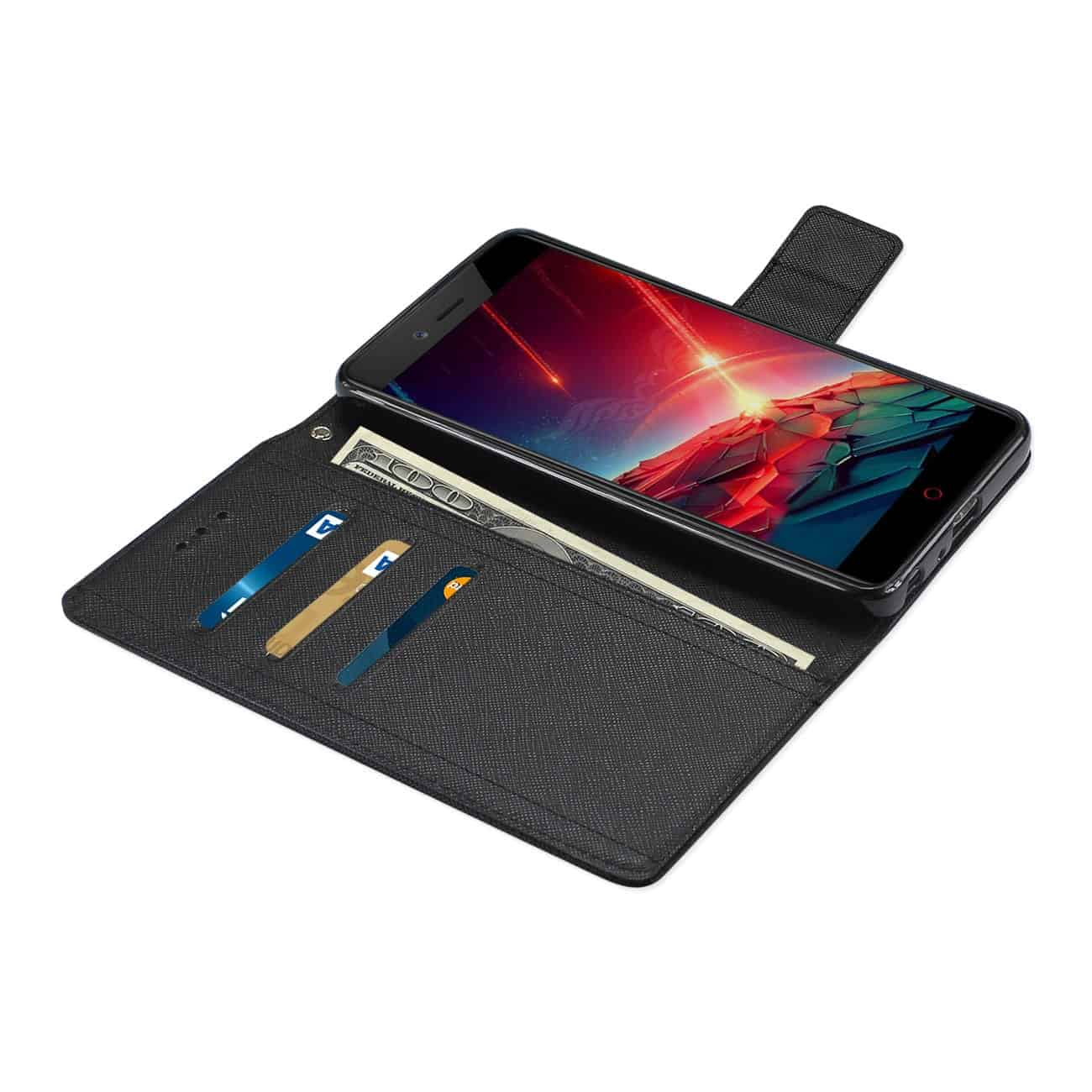 ZTE Blade Z MAX/Z982/ZTE Sequoia 3-IN-1 WALLET CASE IN BLACK